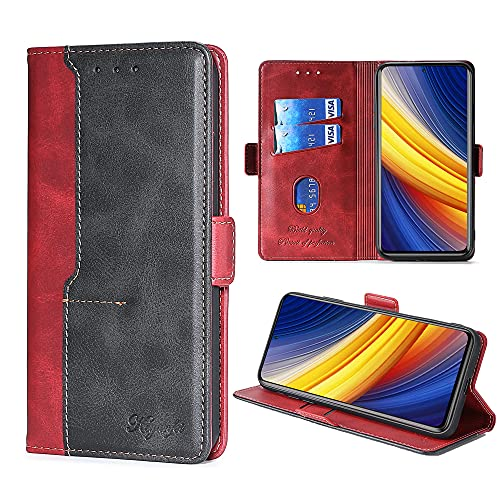 FiiMoo Funda de teléfono móvil compatible con Xiaomi Poco X3 / X3 Pro / X3 NFC, [TPU suave] [tarjetero] [cierre magnético] [función atril] PU cuero funda Flip Wallet Case Funda – Rojo
