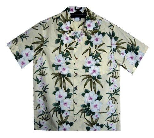 MD - Chemise Hawaienne Authentique Originale Taille M, Beige