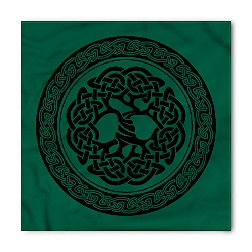 Ambesonne Unisex Bandana, Celtic Tree of Life Pattern, Forrest Green