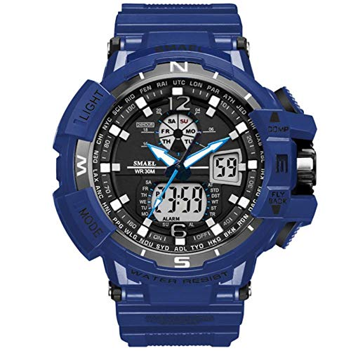 SMAEL Reloj Digital para Hombre para Actividades al Aire Libre Deportivo Militar Sumergible cronógrafo Cuenta atrás Luces LED con Alarma de PU Correa,Dark Blue