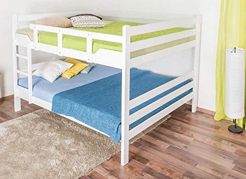 Etagenbett für ErwachseneEasy Premium Line K16/n, Kopf- und Fußteil gerade, Buche Vollholz massiv weiß lackiert - Liegefläche: 160 x 190 cm, teilbar