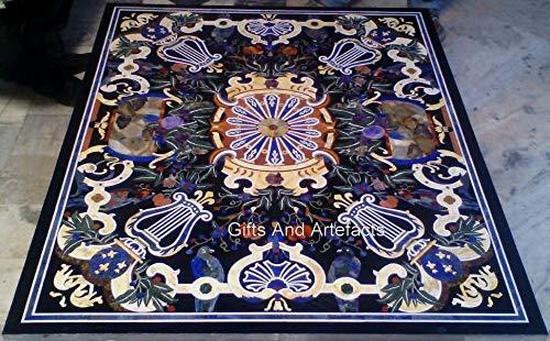 Mesa de mesa de comedor de mármol con incrustaciones de arte del patrimonio indio de 100 x 150 cm