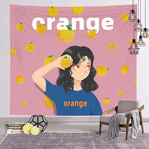 asdas Tapestry,Mandala Impression Art India 3D Printing Orange Girl Polyester Ocean Decoration Wave Picnic Blanket Dormitory Living Room Bedroom Study Room Window Wall,Orange Girl,200150Cm