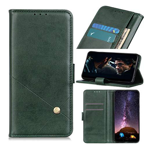 LMFULM® Hülle für Wiko Y80 (5,99 Zoll) PU Leder Hülle Magnet Brieftasche Lederhülle Individualität Style Stent-Funktion Schutzhülle Flip Cover Grün