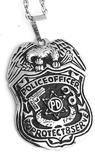 N-G Collar con Colgante de Oficial de policía de Acero Inoxidable para Hombre con protección Superior