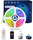 WIFI Tiras LED Alexa Inteligente, TASMOR Luces LED RGB 5M Música Funciona con Alexa, Google Home, App, 16 Colores Autoadhesiva 3M...