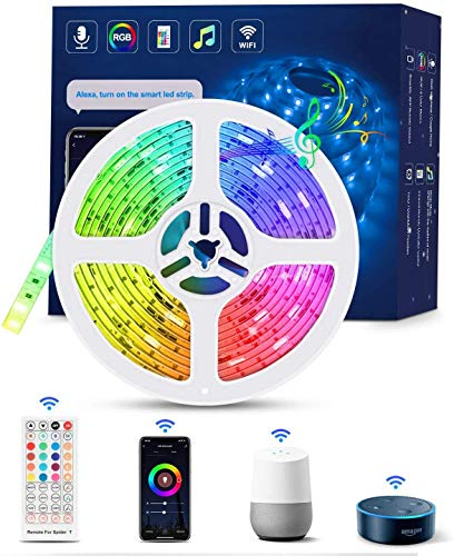WIFI Tiras LED Alexa Inteligente, TASMOR Luces LED RGB 5M Música Funciona con Alexa, Google Home, App, 16 Colores...
