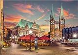 Poster 80 x 60 cm: Bremen - Marktplatz, Rathaus, Altstadt