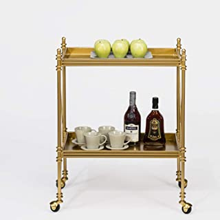 Serving Cart 2 Tiers, Bar Hotel Mobile Storage Cart, High-end Kitchen Cart, Storage Wrought Iron Trolley, Gold 60x38x80cm