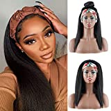 Headband Wig Kinky Straight for Women Yaki Wigs 14 inches Synthetic Headbands Wig for Daily Party Use Glueless Natural Looking Easy to Wear (Yaki 14inch)