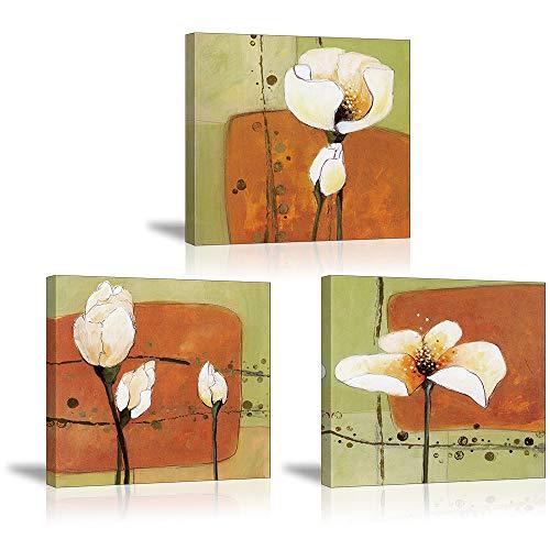 PIY PAINTING, Kunstdruck Auf Leinwand, Blühender Blumen, leinwand Foto Auf Keilrahmen, Blumenbild für Wohnzimmer, Moderne Dekoration Kunstwerk Bilder (30x30cm, 3 Teilig)