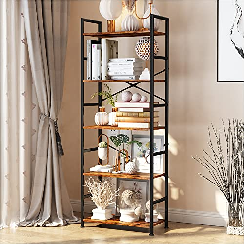5-Tier Tall Bookcase, Rustic Wood and Metal Standing Bookshelf, Industrial Vintage Book Shelf Unit, Open Back Modern Office Bookcases