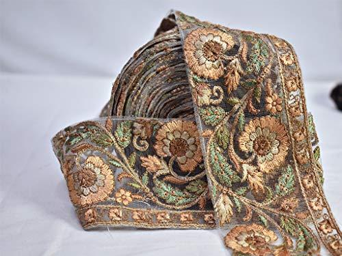 Cinta bordada para costura de disfraces, adornos florales de tela india Sari borde, bordes, bordes, costura, decoración de costura, 9 yardas para hacer bolsas de playa