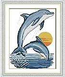 Punto de cruz Kit Bordados para niños y adultos,2 bebés delfines,16 x 20 pulgadas DIY costura punto de cruz set decoración de pared principiante(11CT)