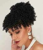 Ebingoo Black curly ponytail wig Kinky Curly for wedding updos Afro Ponytail Extension Drawstring Bun and Hairpiece Bangs Separate for black women for darily wear for cosplay