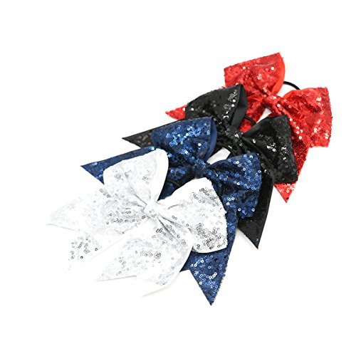 4 PCS Hair Bow - Big Sequin Bows with Elastic Ties School Ribbon Barrettes Women Hair Holder Scrunchies Accessories for Baby Infant Little Girls Kids Teens Toddlers Red Blue Black White Clips