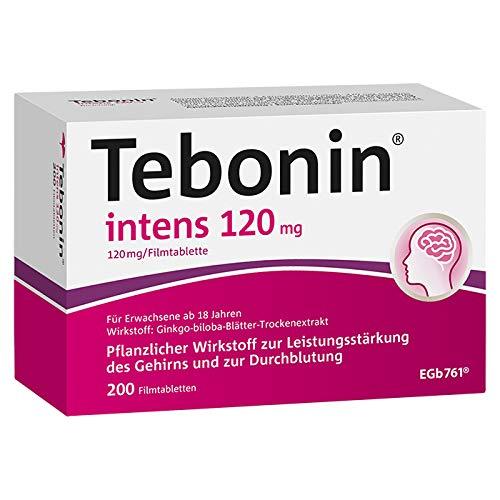 Tebonin® intens® 120mg bei akutem und chronischem Tinnitus* – Pflanzliches Arzneimittel mit Ginkgo-Spezialextrakt EGb 761(R) – 200 Filmtabletten…