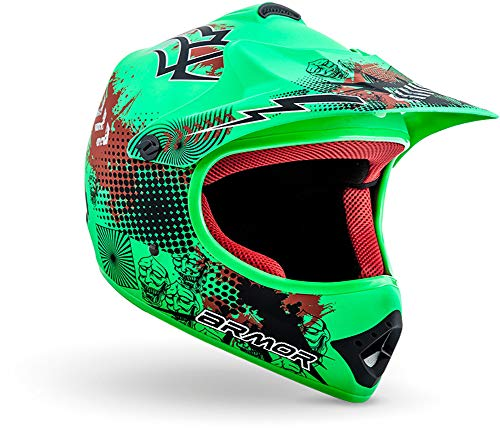 "armor HELMETS® AKC-49 ""Limited Green"" · Kinder Cross-Helm · Motorrad-Helm MX Cross-Helm MTB BMX Cross-Bike Downhill Off-Road Enduro-Helm Moto-Cross · DOT Schnellverschluss Tasche L (57-58cm)"