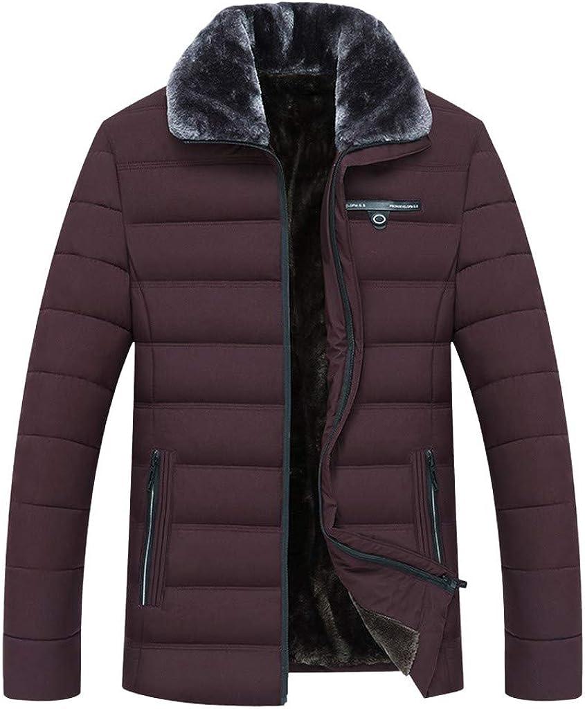 Men's Down Jacket Faux Fur Lining, NRUTUP Winter Warm Puffer Jacket Fleeced Overcoat Thermal Coat Work Casual Outwear