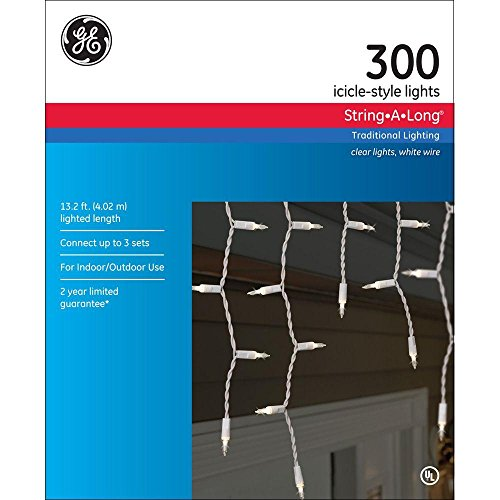 GE 300 Icicle-Style String-A-Long Clear Lights, Indoor or Outdoor
