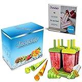 Freshelato - Stampo per Ghiaccioli/Set + 2 Stampi in Silicone + Imbuto + Spazzola (Giallo)