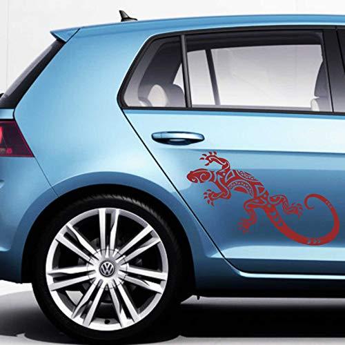 INDIGOS UG Aufkleber - Autoaufkleber-Set Abstrakt Gekko, 2 STK. je 50cm x 20cm dunkelrot - Tuning Carystyling Heckscheibe Auto
