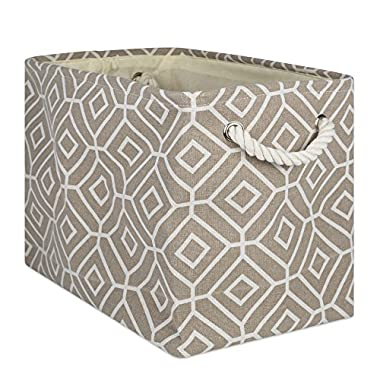 DII Collapsible Polyester Storage Basket Or Bin with Durable Cotton Handles, Home Organizer Solution for Office, Bedroom Closet, Toys, and Laundry, Medium-16x10x12, Stained Glass Stone