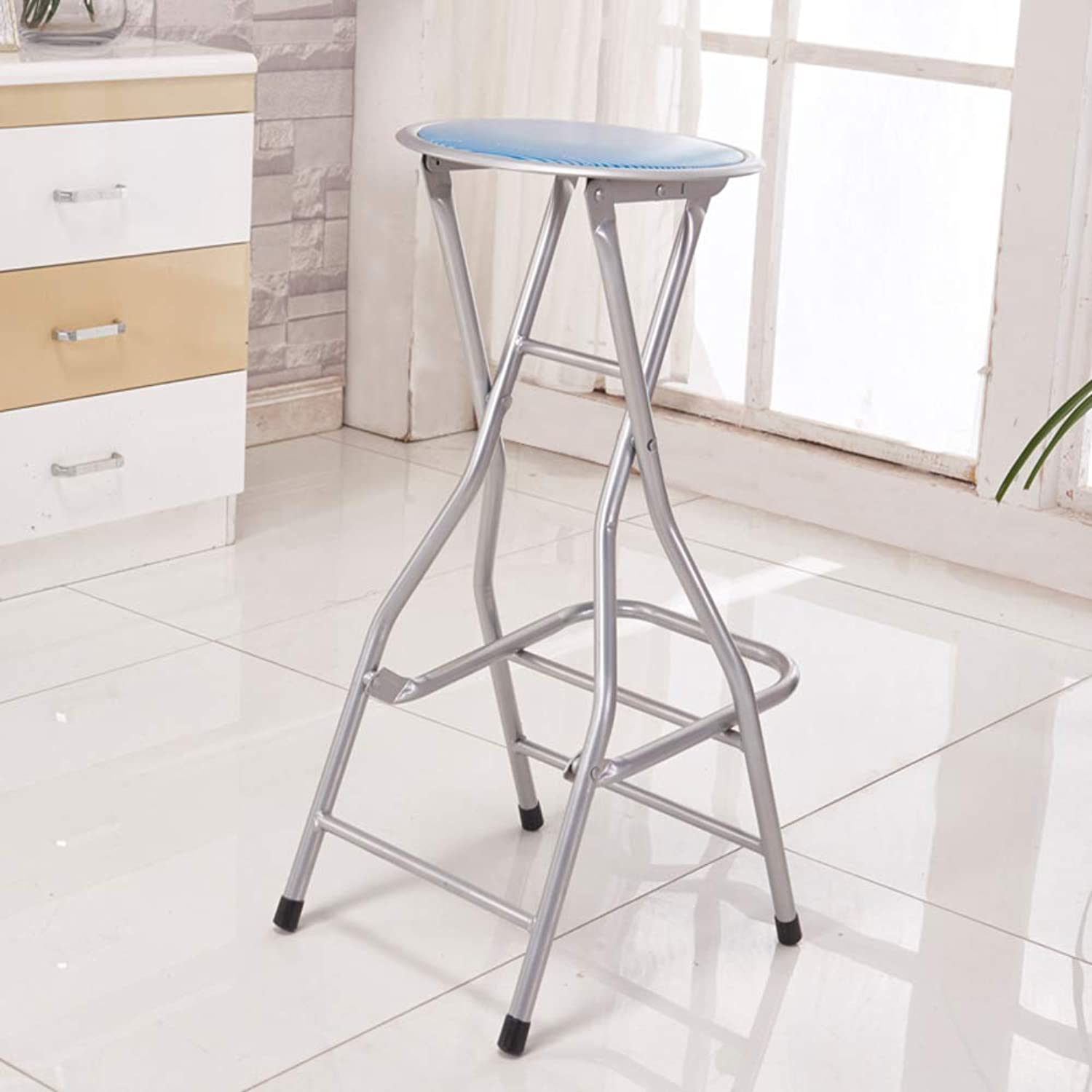Barstools with Back, Folding Chair, Metal Pub Chair, Counter bar Stool Studio Chair for bar Home-bluee D31xH66cm(12x26inch)