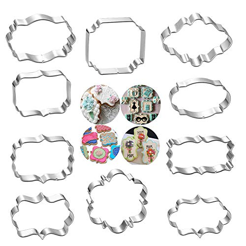 10 PCS Plaque Frame Cookie Cutters Set - Fondant Tiles Cutter Molds Set for Biscuit, Fruit, Bread Wedding and Birthday Party Decorations