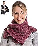Travel Pocket Women Infinity Scarf - Burgundy Women Men Convertible Zipper Hidden Button Winter Fall Scarf Travel, 2019 Mom Grandma Best Friend Sister Wife Girlfriend Christmas Christian Good Gift