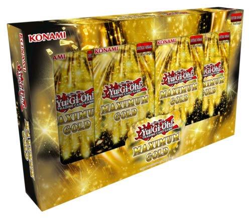 A YuGiOh! Maximum Gold Edition Tuckbox DEUTSCH (4 Booster je 7 Karten) + Arkero-G 100 Small Soft Sleeves