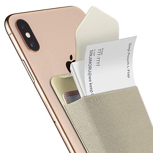Sinjimoru - Sinji Pouch L-Flap - Tarjetero Inteligente con pestaña de Cierre, Tarjetero para teléfono móvil, Mini Cartera Reutilizable para iPhone y Android. Color Beige