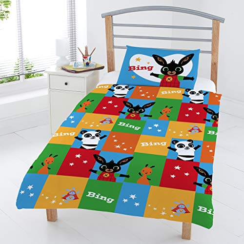 Coco Moon Bing Bunny Patchwork Reversible Junior Bed Size Duvet Cover and Pillow Set for Kids Ideal Prime Gift