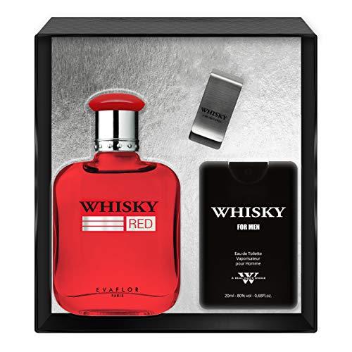 Evaflorparis Whisky Red Gift Box Eau de Toilette 100 Ml + Travel Perfume 20 Ml + Money Clip Set Perfume Spray Men Perfume Evaflorparis 520 g
