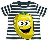 Hariz - Camiseta para bebé, diseño de rayas, color azul marino y blanco lavado, 3 – 6 meses