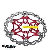 Newgoal Disco de Freno de Disco de Bicicleta, 160mm Bicicleta de montaña Flotante Disco de Freno Centro de Bloqueo Accesorios de Bicicleta(Rojo)