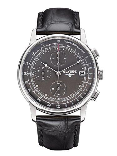 Elysee Heritage Herren Armbanduhr Chronograph Leder (schwarz)