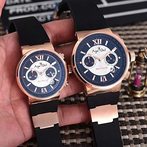 HHBB Marca de lujo Hombres Y Mujeres Cronógrafo Oro Rosa Negro Azul Café Plata Caucho Acero Inoxidable Relojes Luminoso Deporte Relojes Aaa+ Hombres Negro Blanco