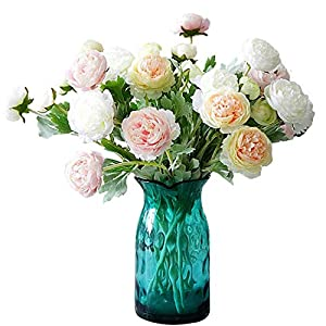 "Maylife 6 Sets(3 Flowers/Set) 19.29"" Ranunculus Asiaticus Artificial Flowers Bouquet for Home Garden Wedding Party Decoration (Pink)"