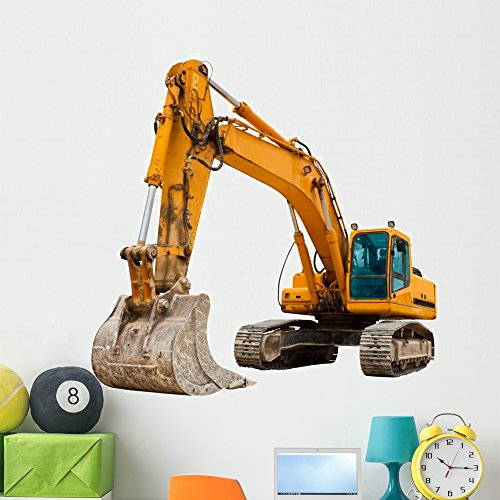 Wallmonkeys FOT-25949067-48 WM228643 Yellow Excavator at Construction Site Peel and Stick Wall Decals (48 in W x 41 in H), Extra Large
