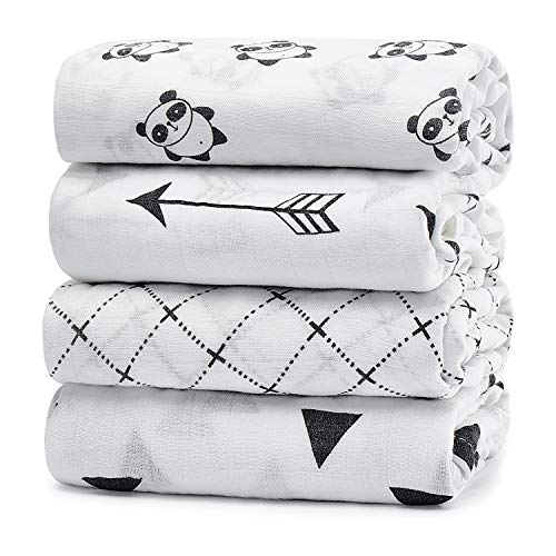 KiddyCare Muslin Baby Swaddle Blankets, Large Neutral Receiving Blankets Wrap for Baby Boy and Girl, 47 x 47 inch, Unisex Silky Soft Bamboo Blankets 4 Pack