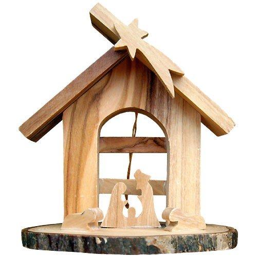 Junker Verlag Crèche de Noël en Bois d'olivier 8cm - à Poser ou à Suspendre - décoration Noël fabriquée à Bethléem