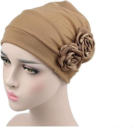 Tukistore Damen Chiffon Baumwolle Kopftuch Bandana H/üte Krebs Chemo Hygiene Alopezie Make-up Hut Turbanm/ütze Kopfbedeckung mit Blumen Dekoration