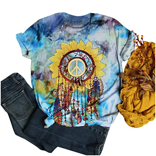 Best Review Of Nihewoo Womens Short Sleeve Tops Tie-dye Sunflower Print Tops Summer Tops Blouses Loo...