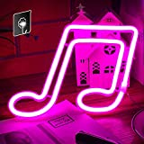 Music Note Neon Signs - Wall Decor Neon Light, Bedroom, Birthday Party, Living Room, Girls Room Decor Sign Neon, USB and Battery Dual Use (Pink)