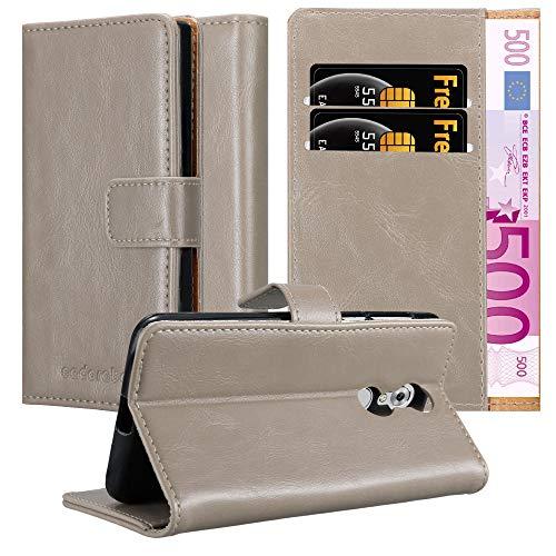 Cadorabo Hülle für ZTE Axon 7 Mini in Cappuccino BRAUN – Handyhülle mit Magnetverschluss, Standfunktion & Kartenfach – Hülle Cover Schutzhülle Etui Tasche Book Klapp Style