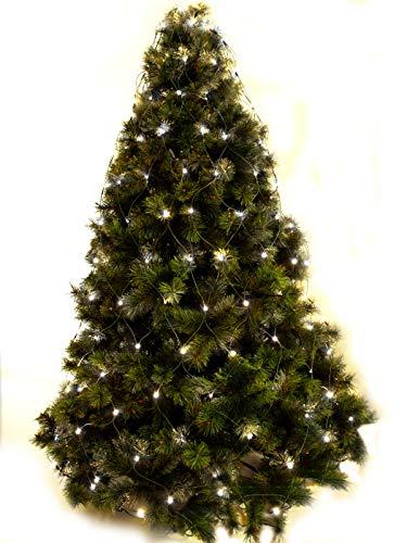 LUCCIKA Mantello a rete di Luci a led per Albero di Natale per Interno ed Esterno con Memoria e 8 giochi di luce (Bianco Caldo, 240 Led - Per Alberi da 180 a 230 cm di altezza)