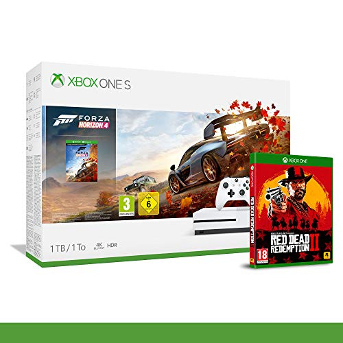 Xbox One S 1TB + Forza Horizon 4 + 14gg Xbox Live Gold + 1 Mese Gamepass [Bundle] + Red Dead Redemption 2