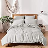 Simple&Opulence 100% Linen Duvet Cover Set with Washed-French Flax-3 Pieces Solid Color Basic Style...