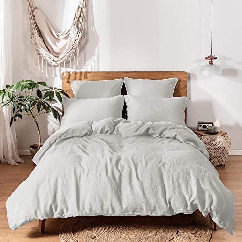 Simple&Opulence 100% Linen Duvet Cover Set with Washed-Belgian Flax-2 Pieces Solid Color Basic Style Bedding Set-Breathable Soft Comforter Cover with 1 Pillowsham(Twin,Light Grey)